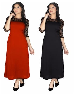 Klick2Style Women's Viscose Red and Black Dress (Pack of 2)