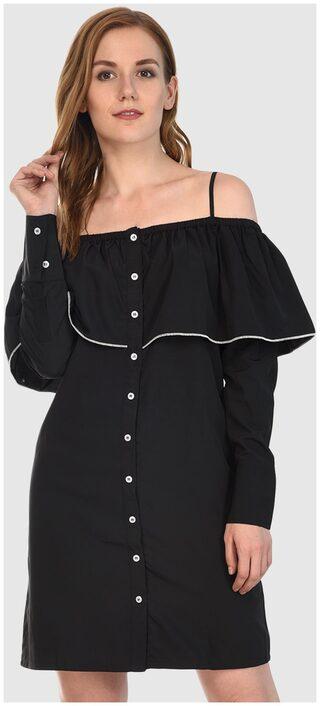 Klick2Style Long Sleeve Off Shoulder Black Crepe Dress
