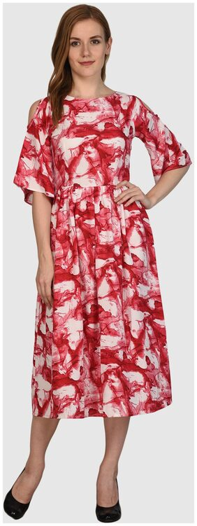 Klick2Style Dew Shoulder Fit and Flare A-line Pink Maxi dress