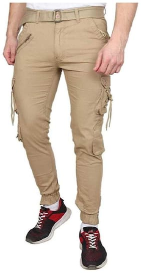 Chrome & Coral Men Beige Solid Regular fit Cargos