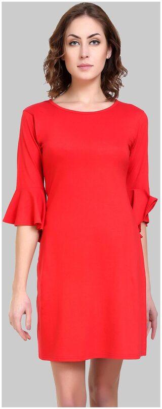 Klick2Style Women's Cotton Blend Red Dress