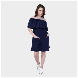 Klick2Style Viscose Solid A-line Dress Blue