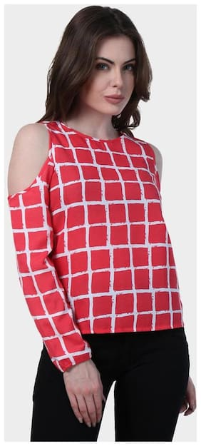 Klick2Style Women Viscose Printed - A Line Top Red