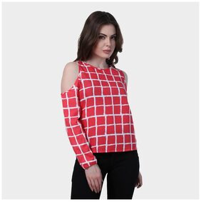 Klick2Style Women Viscose Printed - A-line Top Red