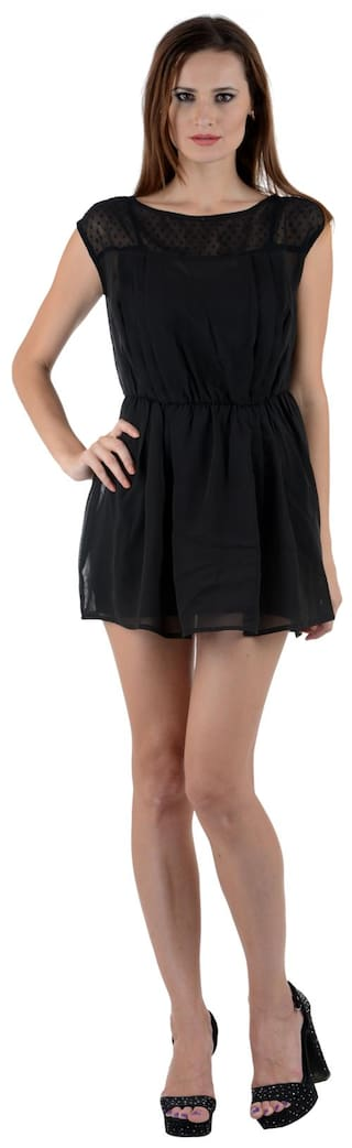 Klick2Style Women Black Georgette Dress