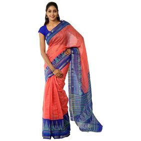 KLM Fashion Mall Cotton Silk Pink Saree