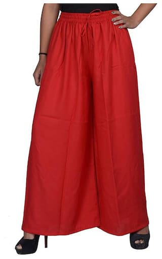 KOOLFABS Women's Regular Fit Womens Red Color Rayon Pallazo
