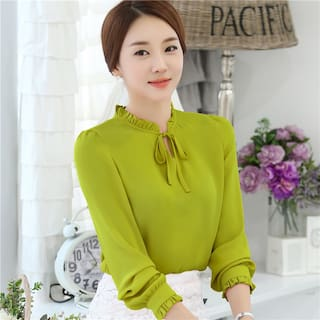 Fresh Long Size Lace Blouse Tie Shirt Color Top sleeved Chiffon Asian Wild Women Korean Solid Bow Women's New TxqfYPP8p