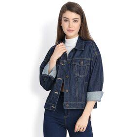 Kotty Women Solid Denim Jacket Jacket - Blue
