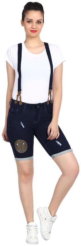 Kotty Women Solid Regular shorts - Blue