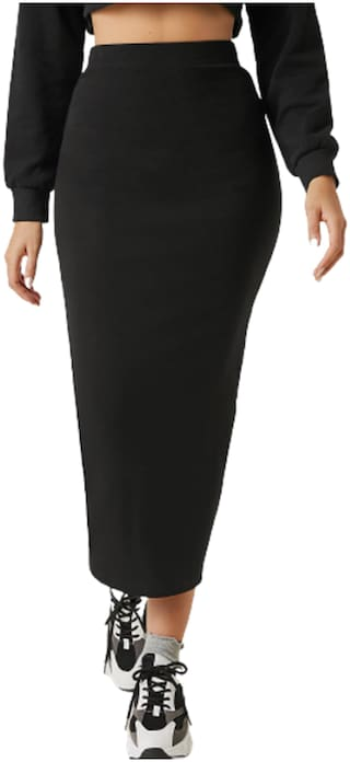 Kotty Solid Pencil skirt Midi Skirt - Black