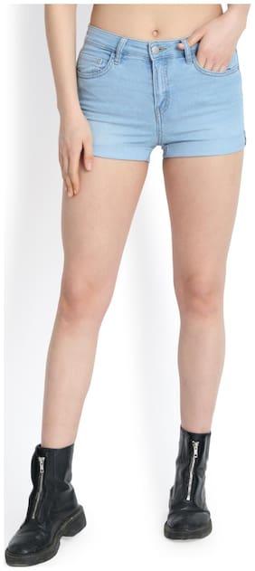 Kotty Women Solid Denim shorts - Blue