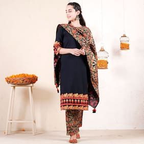 Krati Creations Women Black Floral Straight Kurta With Pants And Dupatta