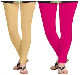 KRIPI Women Cotton Solid Beige & Pink  Leggings
