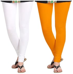 KRIPI Women Cotton Solid White & Orange  Leggings