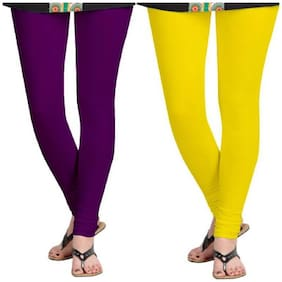 Kripi Women and Girls Ultra Soft Cotton Solid Churidar Legging - Purple;Yellow