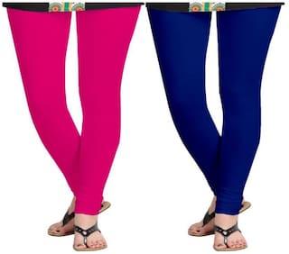 KRIPI Women Cotton Solid Blue & Pink  Leggings