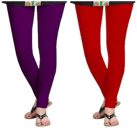 KRIPI Women Cotton Solid Red & Purple  Leggings