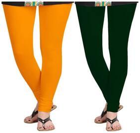 KRIPI Women Cotton Solid Orange & Green  Leggings