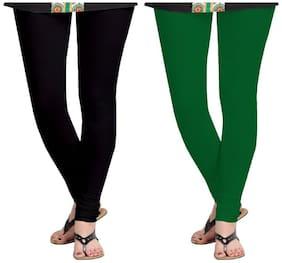 Kripi Women and Girls Ultra Soft Cotton Solid Churidar Legging - Black;Green