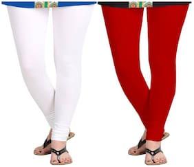 KRIPI Women Cotton Solid White & Red  Leggings