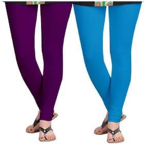 Kripi Women and Girls Ultra Soft Cotton Solid Churidar Legging - Purple;Blue