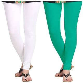Kripi Women and Girls Ultra Soft Cotton Solid Churidar Legging - White;Green