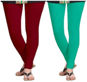 KRIPI Women Cotton Solid Maroon & Green  Leggings