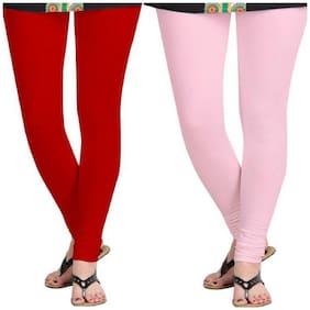 KRIPI Women Cotton Solid Red & Pink  Leggings