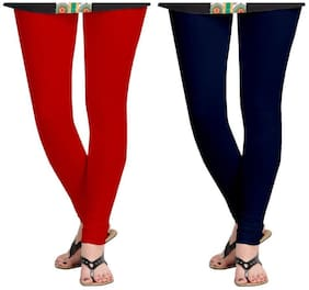 Kripi Women and Girls Ultra Soft Cotton Solid Churidar Legging - Red;Blue