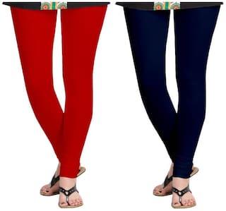 Kripi Women and Girls Ultra Soft Cotton Solid Churidar Legging - Red;Blue