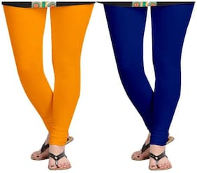 KRIPI Women Cotton Solid Orange & Blue  Leggings