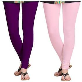 Kripi Women and Girls Ultra Soft Cotton Solid Churidar Legging - Purple;Pink