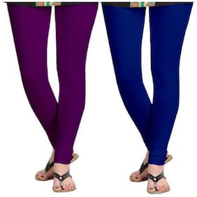 Kripi Women and Girls Ultra Soft Cotton Solid Churidar Legging - Purple;Blue