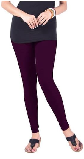 Kripi Women and Girls Ultra Soft Cotton Solid Churidar Legging - Purple