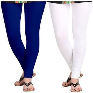 Kripi Women and Girls Ultra Soft Cotton Solid Churidar Legging - White;Blue