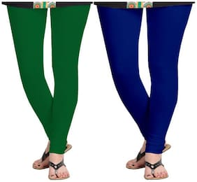 KRIPI Women Cotton Solid Green & Blue  Leggings