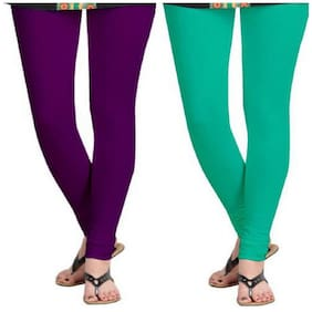 Kripi Women and Girls Ultra Soft Cotton Solid Churidar Legging - Purple;Green
