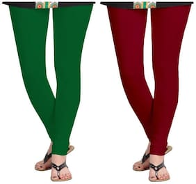 Kripi Women and Girls Ultra Soft Cotton Solid Churidar Legging - Maroon;Green
