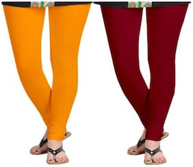 KRIPI Women Cotton Solid Orange & Maroon  Leggings