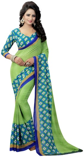 Krishnam Fashion Green And Blue Printed Georgette Daily Wear Saree