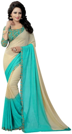 Krishnam Fashion Off White And Rama Printed Georgette Daily Wear Saree