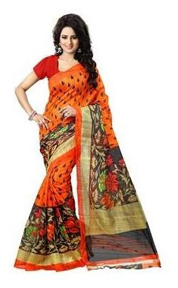 KRISHNAM FASHION ORANGE BHAGALPURI SILK Printed CASUAL WEAR  SAREE WITH ATTACHED BLOUSE