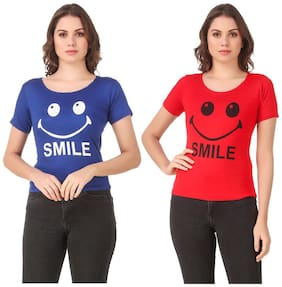Krishty Trading Lycra Printed Blue & Red Color T-Shirt