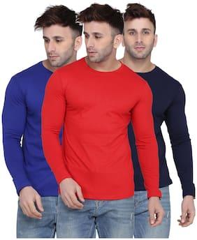Kroptee Men Multi Regular fit Cotton Blend Round neck T-Shirt - Pack Of 3