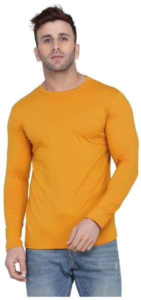 Kroptee Men Yellow Regular fit Cotton Blend Round neck T-Shirt - Pack Of 1