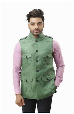 KRPS Men Green Solid Regular Fit Ethnic Jacket