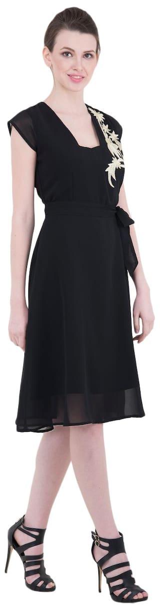 Black Sleeves Half Dress Georgette Solid Kubes tdqwxStR