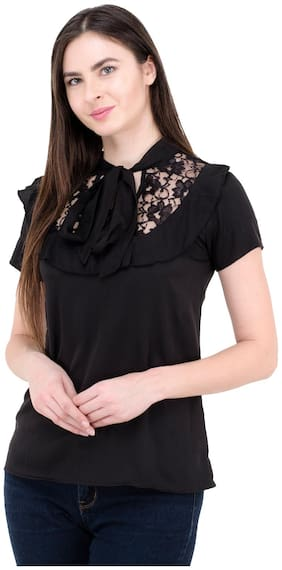 Kubes Black Polyester Casual Solid Top