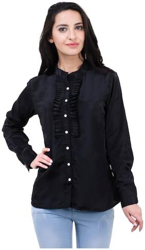 Kubes Black Crepe Casual Shirts